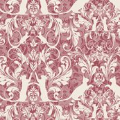 white on pink cat damask