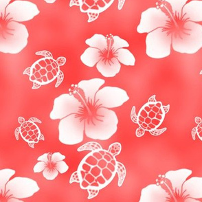 Soft Red Honu And Hibiscus Flowers