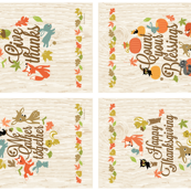Set of Four Autumn Harvest Flags