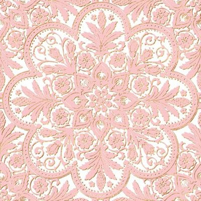 Bourgogne Tile ~  Dauphine Pink with Gilt Gold on White