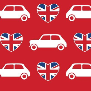 Mini Cooper Hearts - Union Jack Red