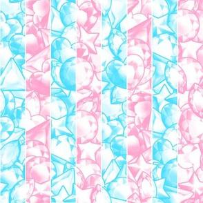 Pink & Blue Jewel Gem Stripes: Soft