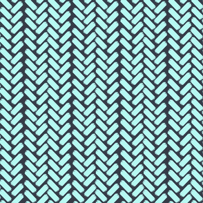 Painted Herringbone_Navy/Aqua