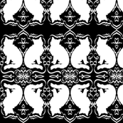 Damask Black and White Cat Kitty Kitten Pattern