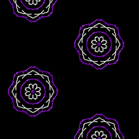 Purple Etched Kaleidoscope Stars