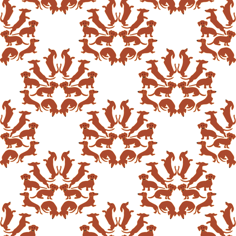 Doxie Damask on white