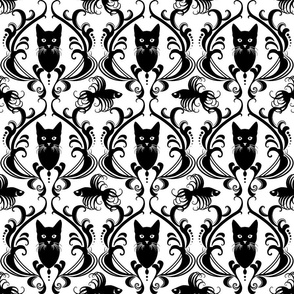 Black Cat Damask