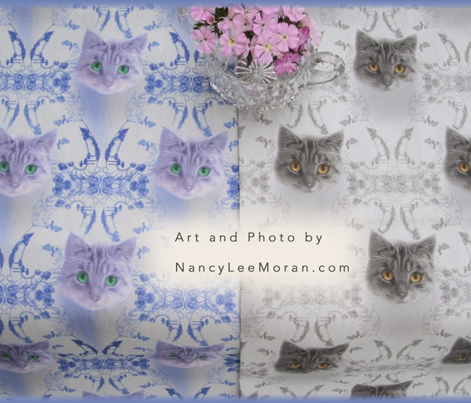 Mysterious Eyes Cat Damask