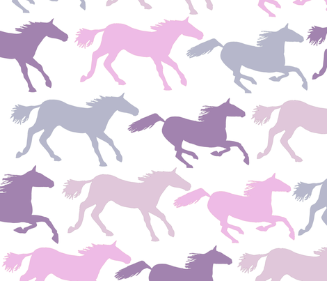 wild horsesin purples and pinks