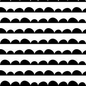 Scallops; black on white