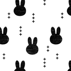bunnies (distressed) // b&w