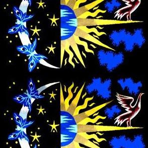 vintage retro tribal folk art northwest Aztec traditional day night yin yang duality abstract sun moon doves birds butterfly horoscope stars galaxy