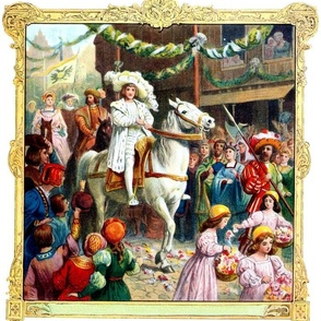 vintage kids classical medieval renaissance fairy tales white prince horse villagers flowers girls soldiers children procession folk tales historical