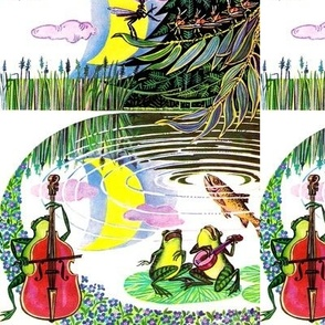 vintage retro kitsch symphony orchestra bats crescent moon trees fly flies violin viola fish pond frogs singers singing banjo lily cello swamps