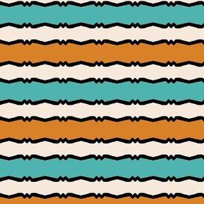 Mid Century Modern - Tangerine and Aqua Wiggle