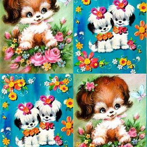 vintage retro kitsch dogs puppies whimsical Maltese ribbons flowers roses butterfly butterflies babies toddlers baby kids