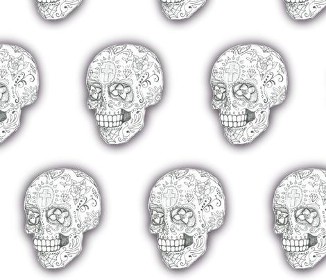 Black and white Sugar Skull sketch  -large