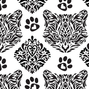 Cat Damask in B&W