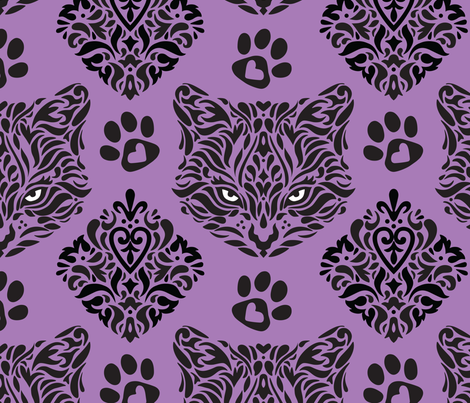 Mystic Cat Damask