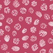 pine cones on berry red