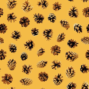 pine cones on Christmas gold