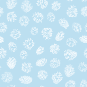 pine cones on ice blue