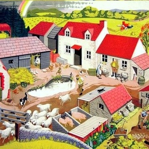 vintage retro kitsch farms barns horses dogs sheep pigs crops vegetables farmers scarecrows goats cows milk chickens ducks geese hay pond roosters