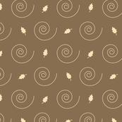 Brown & Beige Fall Leaves & Spirals Pattern