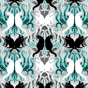 Teal Cat Grass Damask