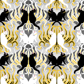 Golden Cat Grass Damask