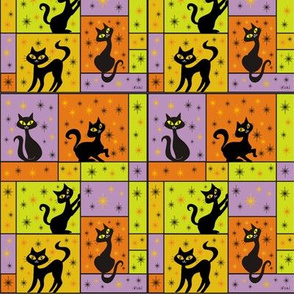 Composition with 5 Black Cats in Halloween