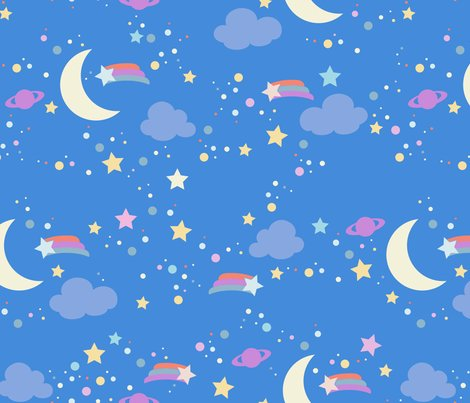 Blue night sky fabric melimel spoonflower for Night sky print fabric
