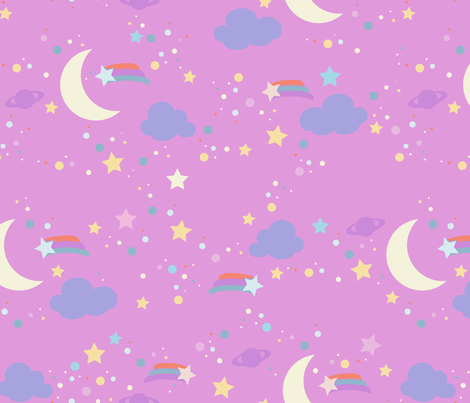 Pink night sky wallpaper melimel spoonflower for Night sky print fabric