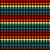 Houndstooth Chocolate Rainbows 1 Inch on Black Background