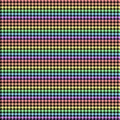 Houndstooth Pastel Rainbow Half Inch on Black Background