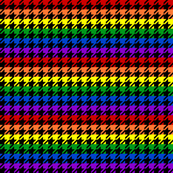 Houndstooth Bold Rainbow 1 Inch on Black Background