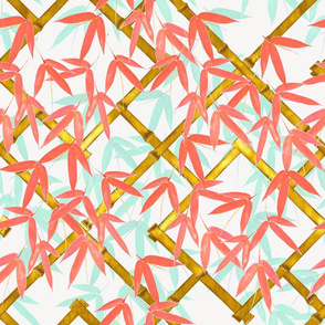 Nantes Bamboo Trellis / Coral and Mint