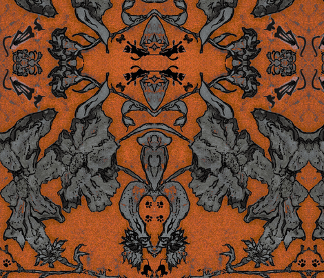 Halloween Cats in the Coreopsis Damask Shibori