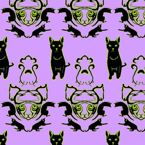Black Cat Halloween Damask