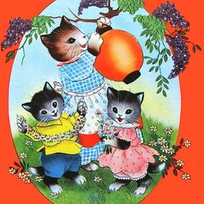 vintage retro kitsch cats kittens mother children toddlers brothers sisters trees leaves flowers daisy daisies kids party celebration