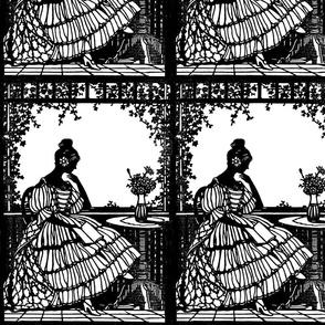 vintage silhouette shadows outlines medieval Victorian lady garden vines reading books flowers vase tables gothic lolita frames renaissance