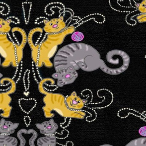 Cats and Pearls Damask on black linen