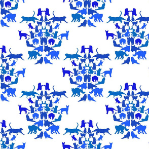 Cat Damask in Blue small