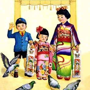 vintage japanese oriental chinese kimono family mothers sons daughters children's day gates torii pigeons sweets brothers sisters traditional geisha