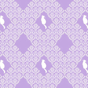 Kitty Back Lavender White Damask