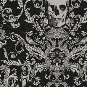 Dread Damask in Crisp Black Linen