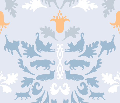 Light cat damask