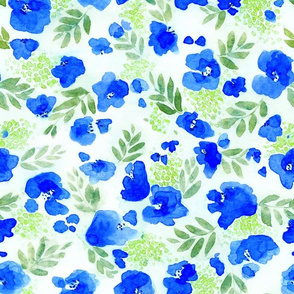 Floret Flower Pattern in Green and Blue