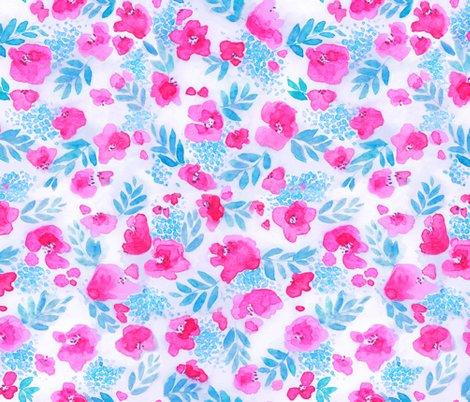 Floret Floral Pattern In Pink And Aqua Blue Wallpaper