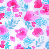 Floret Floral Pattern in Pink and Aqua Blue